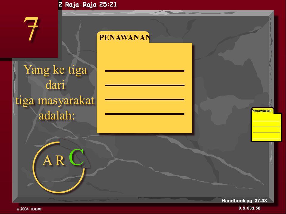 7 A R C Yang ke tiga dari tiga masyarakat adalah: PENAWANAN