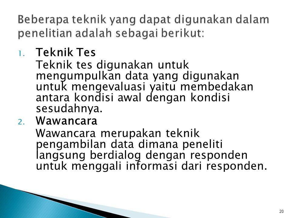 Beberapa teknik yang dapat digunakan dalam penelitian adalah sebagai berikut: