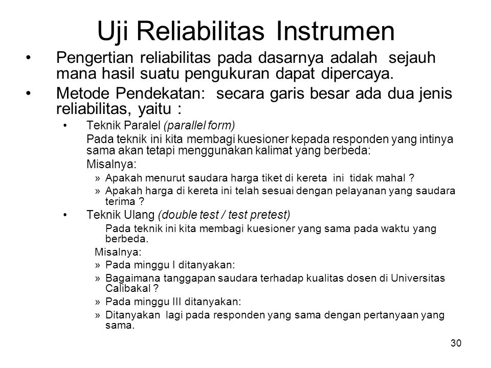 Uji Reliabilitas Instrumen
