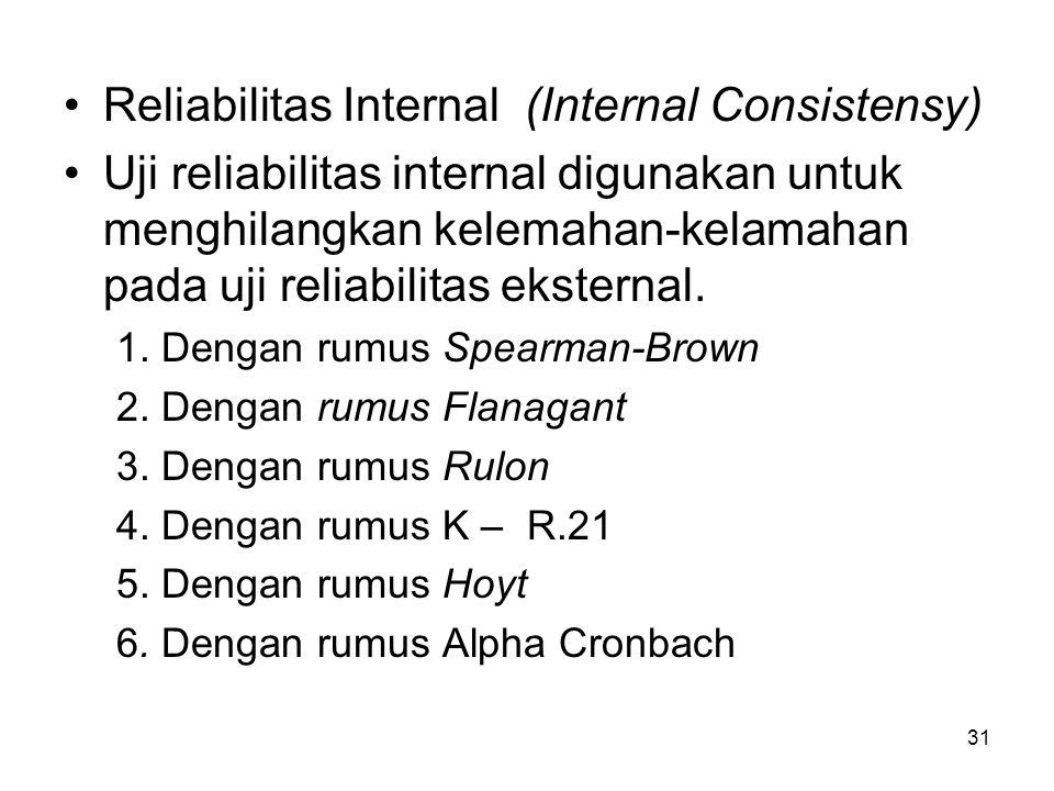 Reliabilitas Internal (Internal Consistensy)