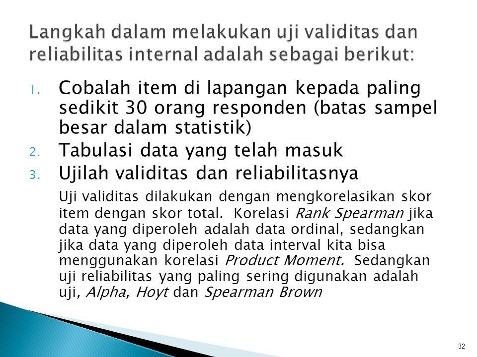 Langkah dalam melakukan uji validitas dan reliabilitas internal adalah sebagai berikut: