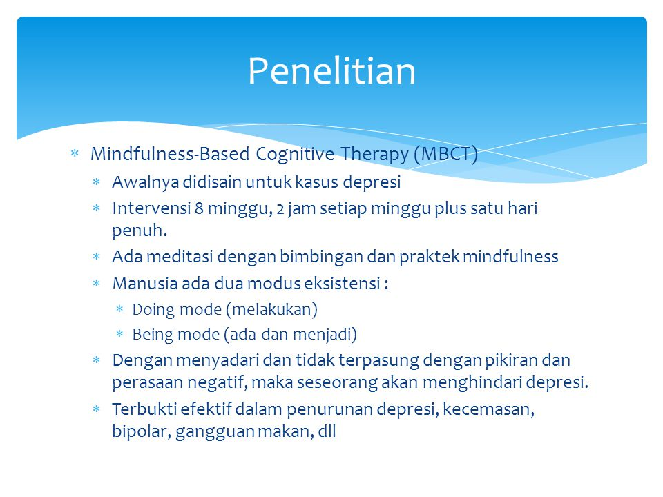 Penelitian Mindfulness-Based Cognitive Therapy (MBCT)