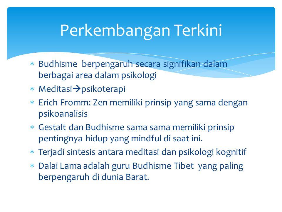 Perkembangan Terkini Budhisme berpengaruh secara signifikan dalam berbagai area dalam psikologi. Meditasipsikoterapi.