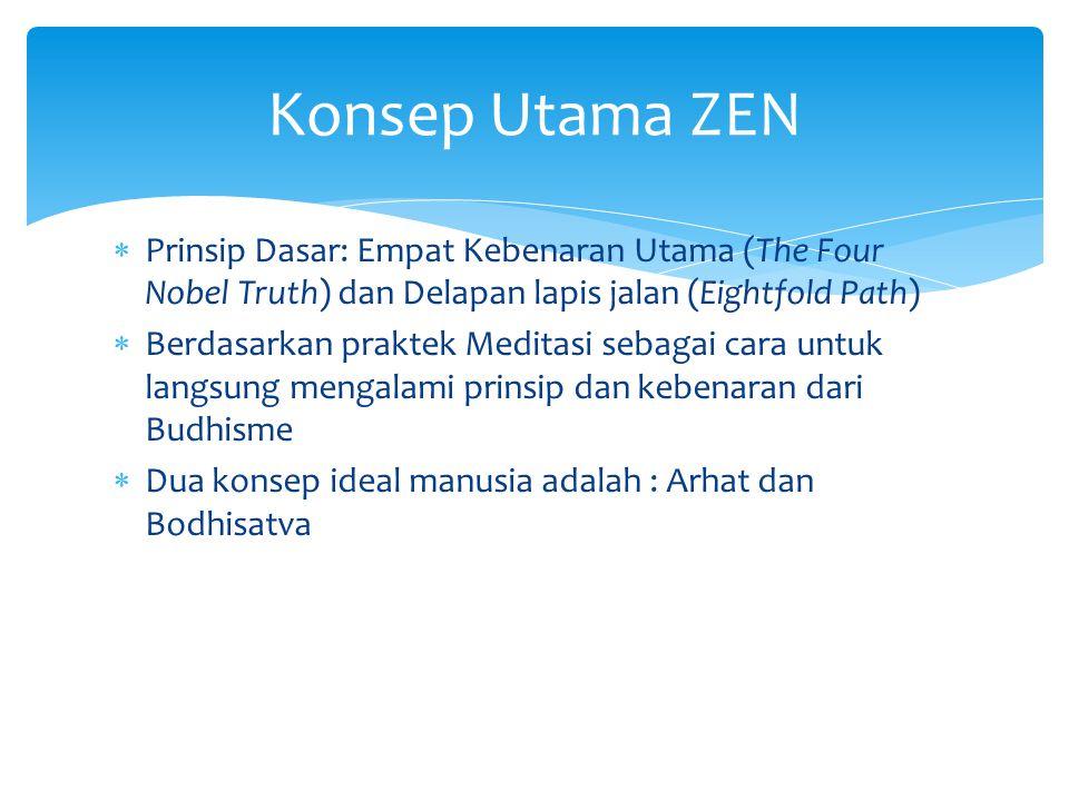 Konsep Utama ZEN Prinsip Dasar: Empat Kebenaran Utama (The Four Nobel Truth) dan Delapan lapis jalan (Eightfold Path)