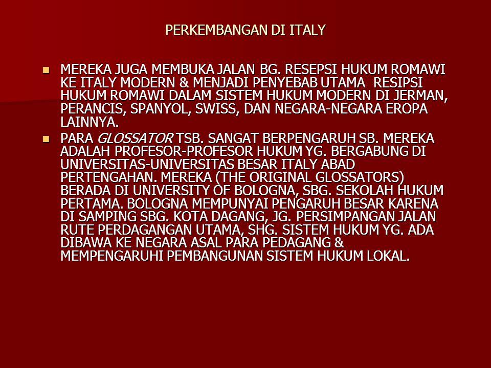 PERKEMBANGAN DI ITALY
