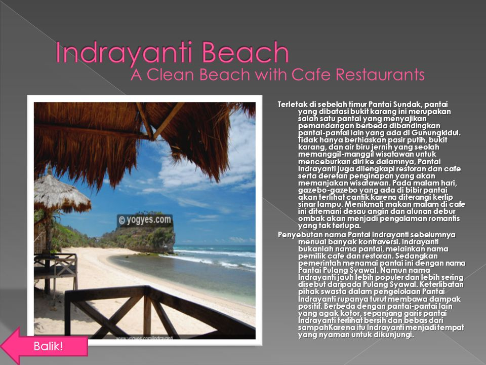 Indrayanti Beach A Clean Beach with Cafe Restaurants Balik!