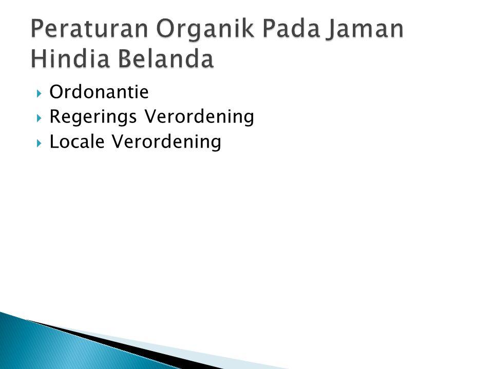Peraturan Organik Pada Jaman Hindia Belanda