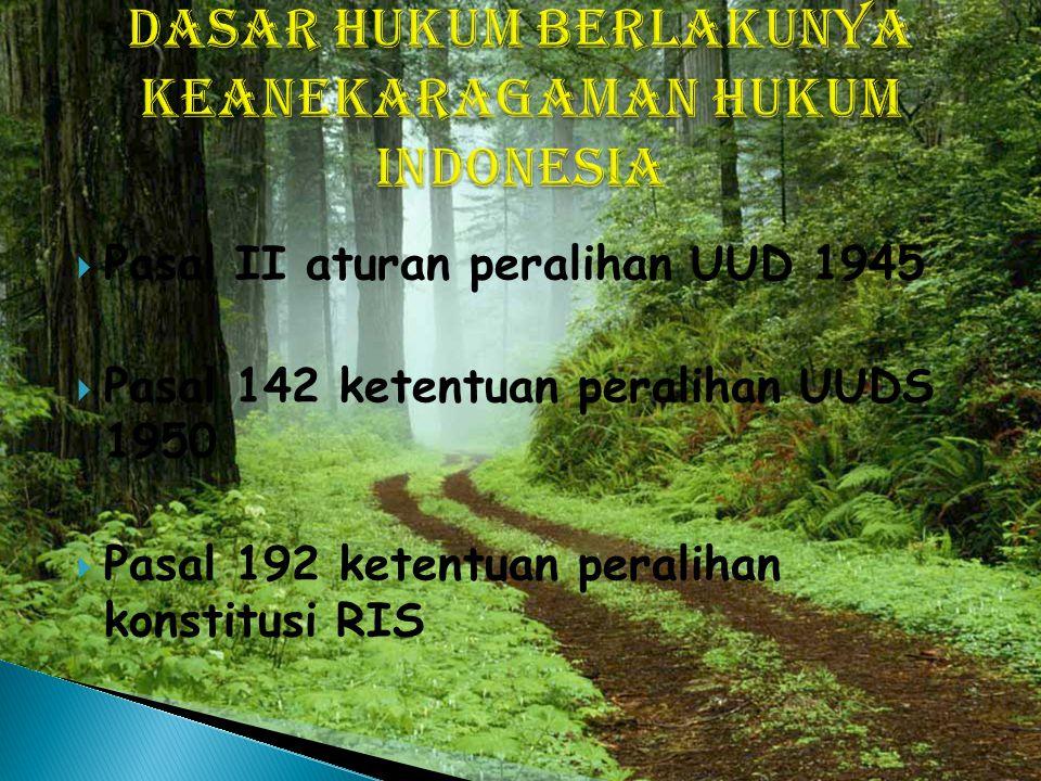 Dasar hukum berlakunya keanekaragaman hukum Indonesia