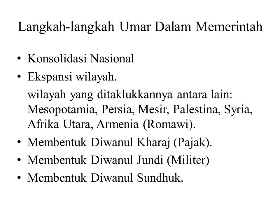 Langkah-langkah Umar Dalam Memerintah