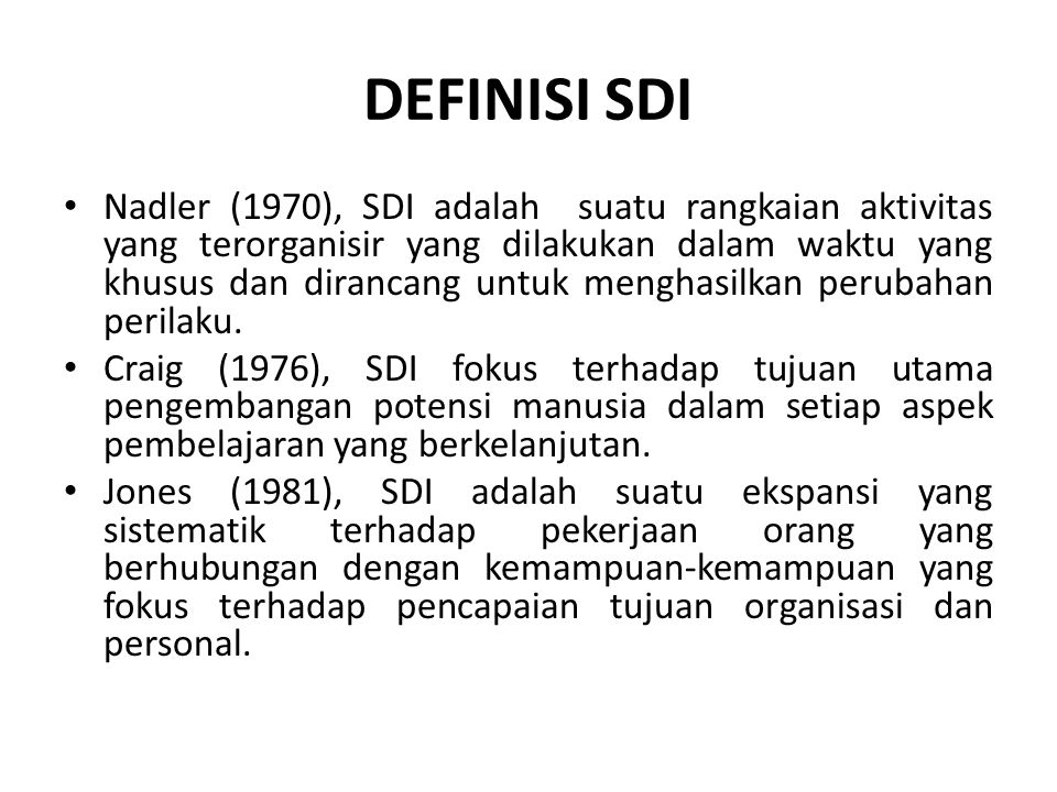 DEFINISI SDI