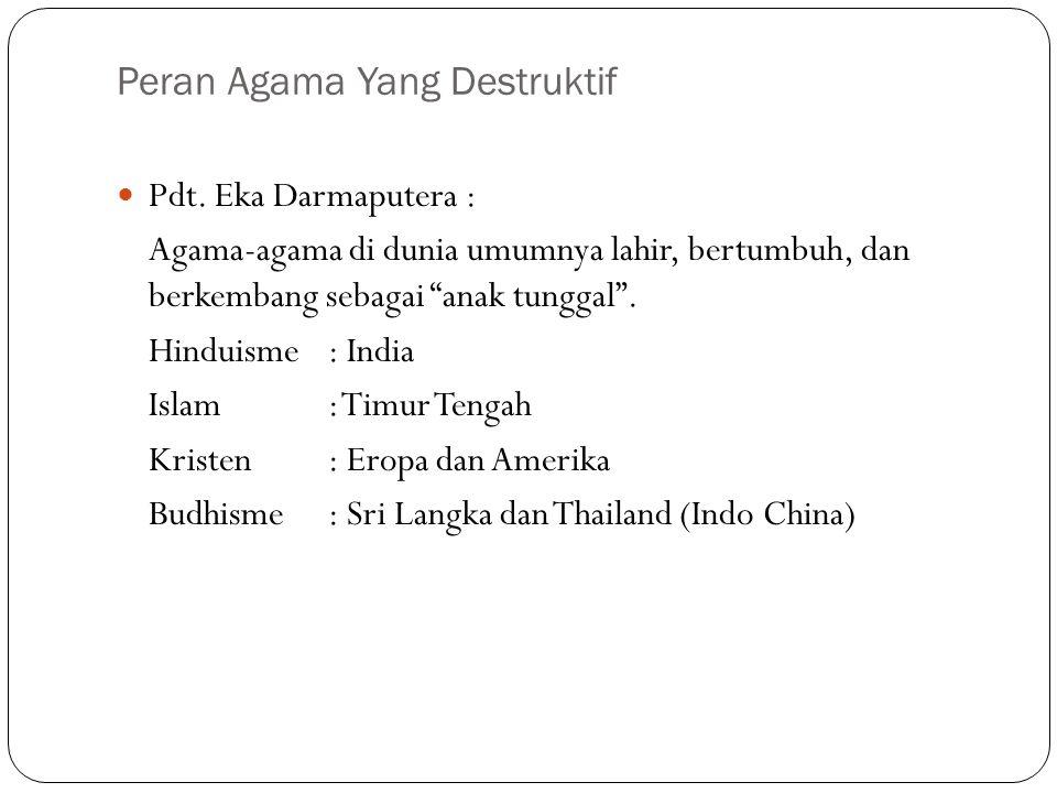 Peran Agama Yang Destruktif