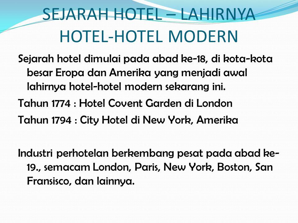 SEJARAH HOTEL – LAHIRNYA HOTEL-HOTEL MODERN