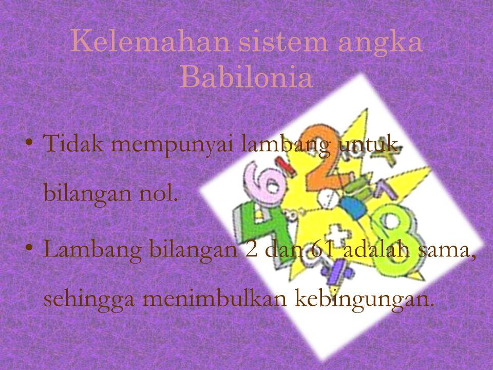 Kelemahan sistem angka Babilonia