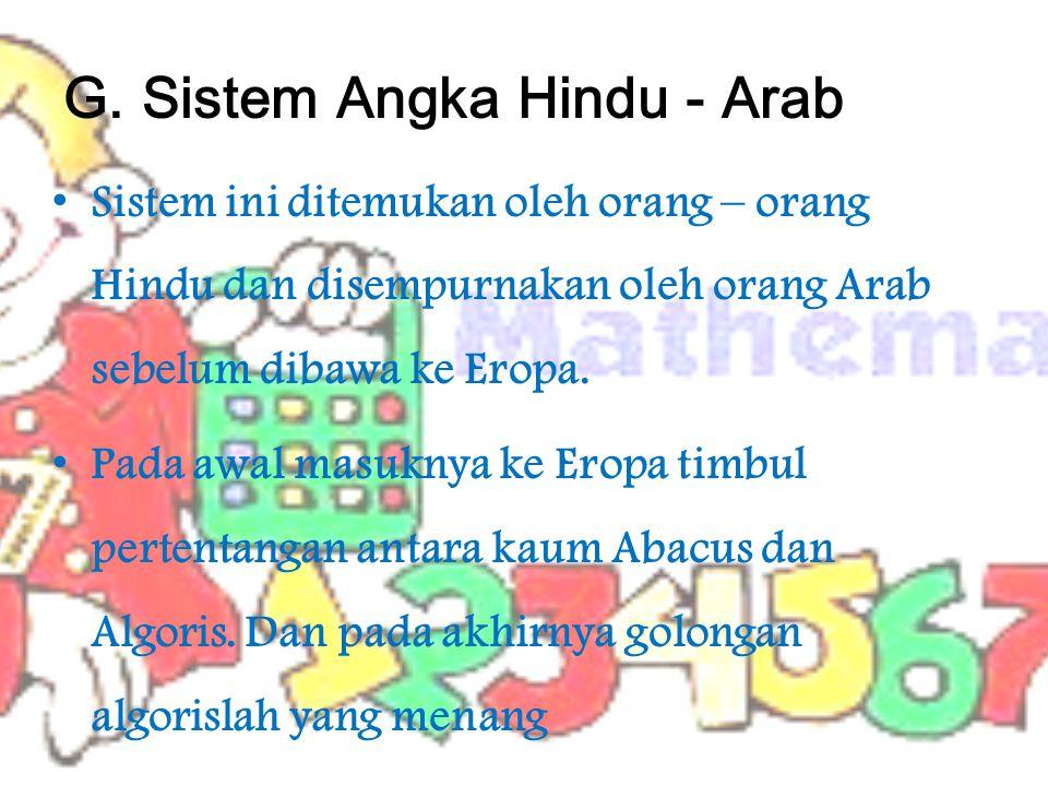 G. Sistem Angka Hindu - Arab