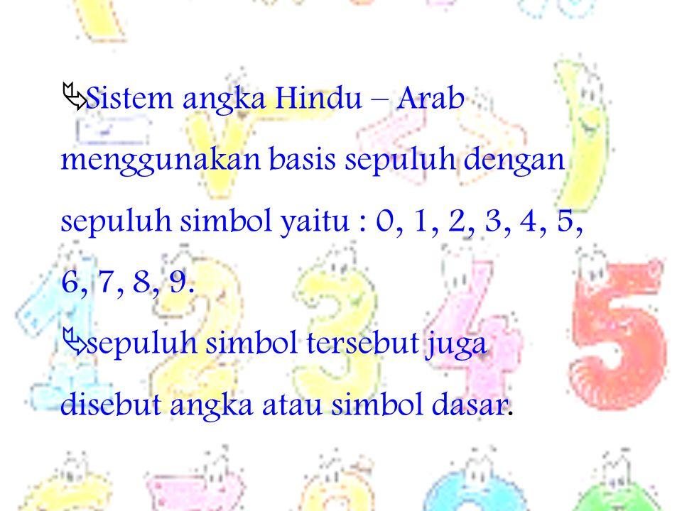 Sistem angka Hindu – Arab menggunakan basis sepuluh dengan sepuluh simbol yaitu : 0, 1, 2, 3, 4, 5, 6, 7, 8, 9.