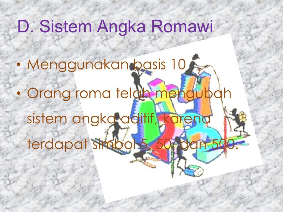 D. Sistem Angka Romawi Menggunakan basis 10