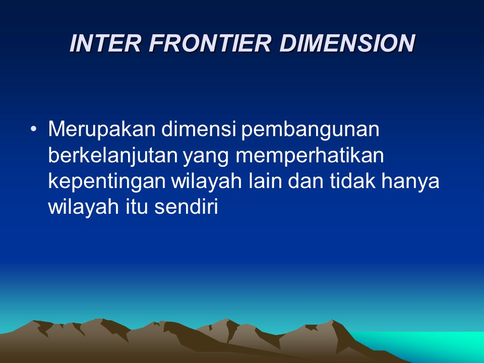 INTER FRONTIER DIMENSION