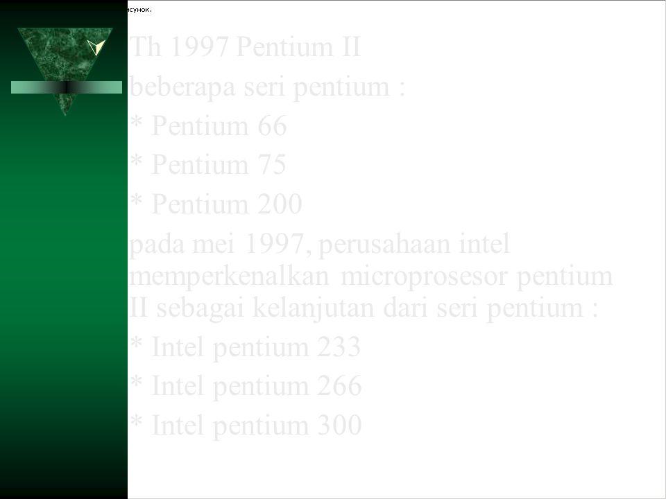 Th 1997 Pentium II beberapa seri pentium : * Pentium 66. * Pentium 75. * Pentium 200.