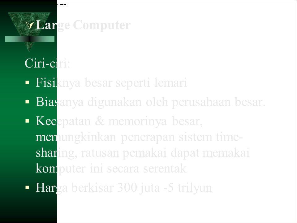 Large Computer Ciri-ciri: Fisiknya besar seperti lemari. Biasanya digunakan oleh perusahaan besar.
