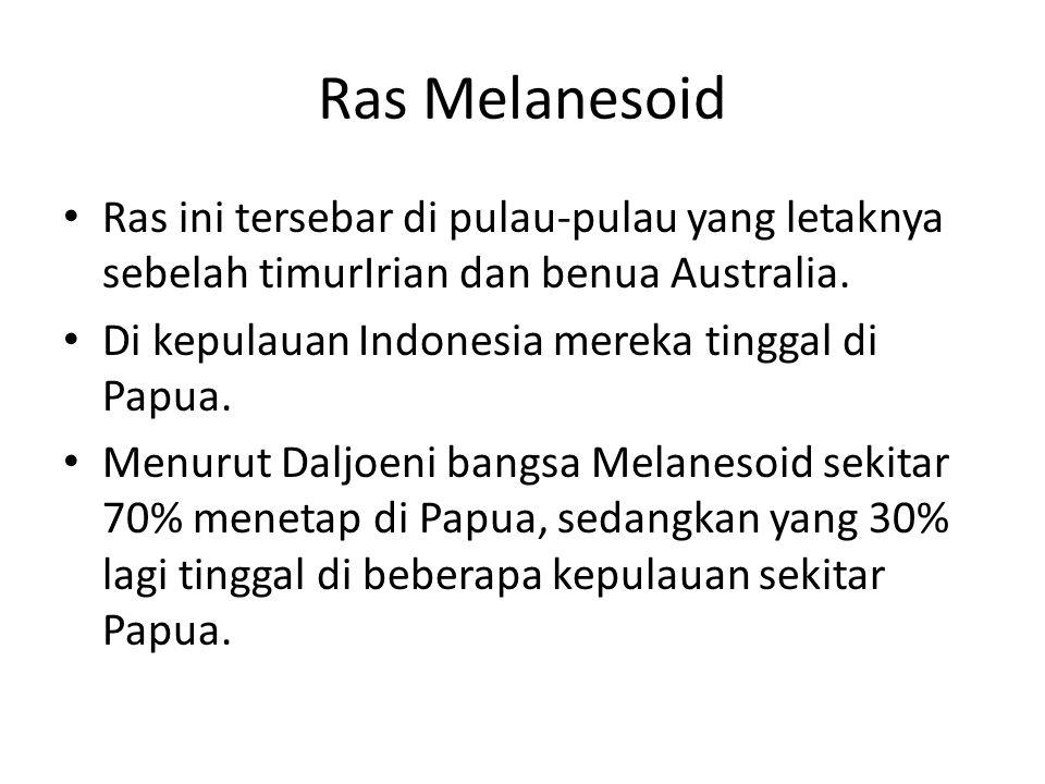 Ras Melanesoid Ras ini tersebar di pulau-pulau yang letaknya sebelah timurIrian dan benua Australia.
