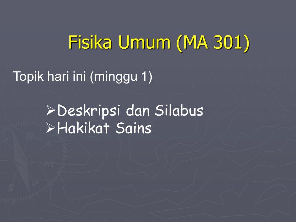 Fisika Umum (MA 301) Deskripsi dan Silabus Hakikat Sains