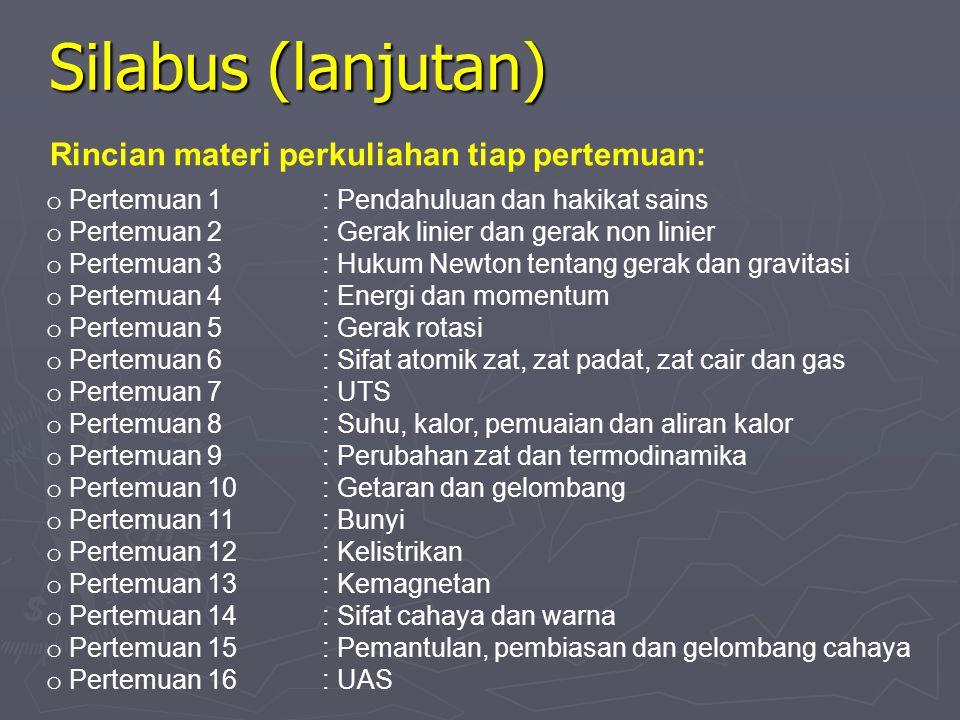 Silabus (lanjutan) Rincian materi perkuliahan tiap pertemuan: