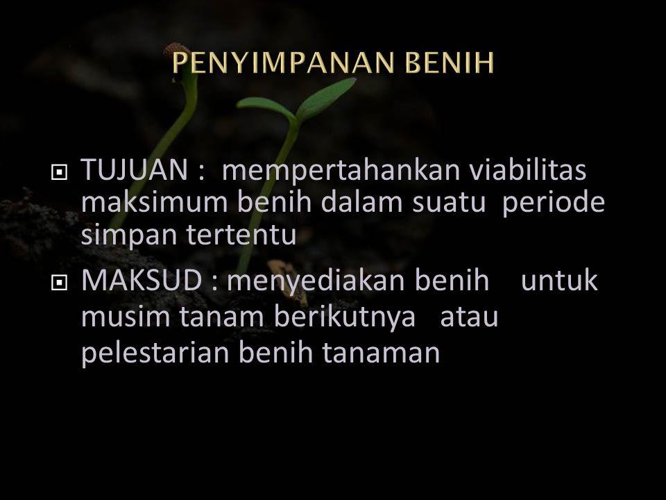 PENYIMPANAN BENIH TUJUAN : mempertahankan viabilitas maksimum benih dalam suatu periode simpan tertentu.