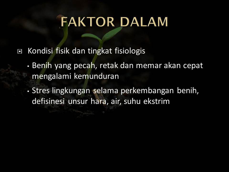 FAKTOR DALAM Kondisi fisik dan tingkat fisiologis