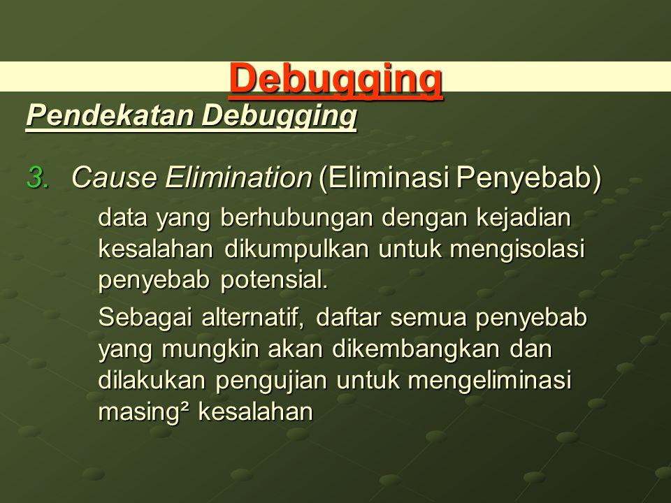 Debugging Pendekatan Debugging Cause Elimination (Eliminasi Penyebab)