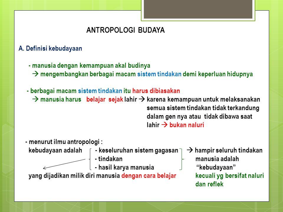 ANTROPOLOGI BUDAYA A. Definisi kebudayaan