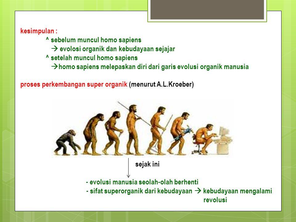 kesimpulan : ^ sebelum muncul homo sapiens.  evolosi organik dan kebudayaan sejajar. ^ setelah muncul homo sapiens.