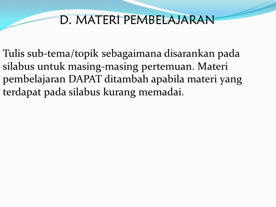 D. MATERI PEMBELAJARAN