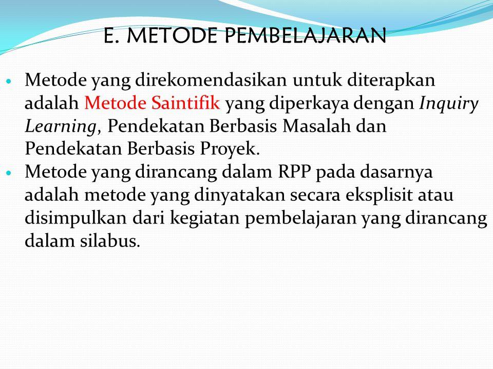 E. METODE PEMBELAJARAN