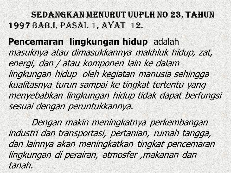 Sedangkan menurut UUPLH No 23, Tahun 1997 Bab.I, Pasal 1, ayat 12.