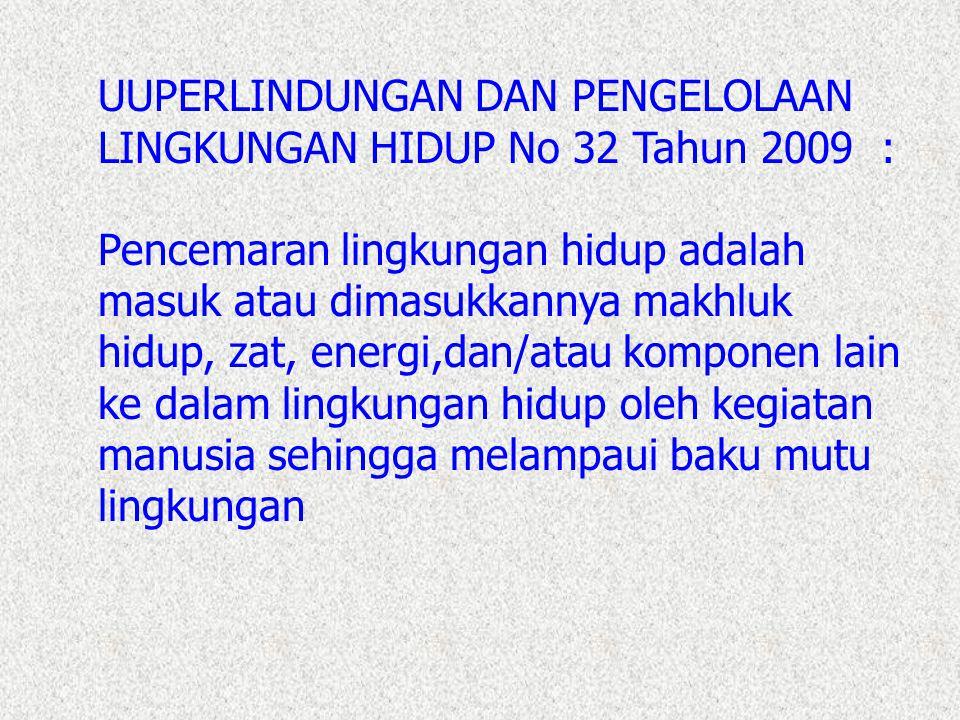 UUPERLINDUNGAN DAN PENGELOLAAN LINGKUNGAN HIDUP No 32 Tahun 2009 :