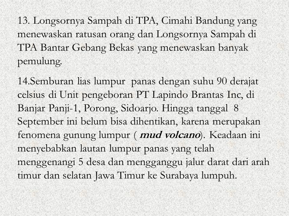 13. Longsornya Sampah di TPA, Cimahi Bandung yang menewaskan ratusan orang dan Longsornya Sampah di TPA Bantar Gebang Bekas yang menewaskan banyak pemulung.