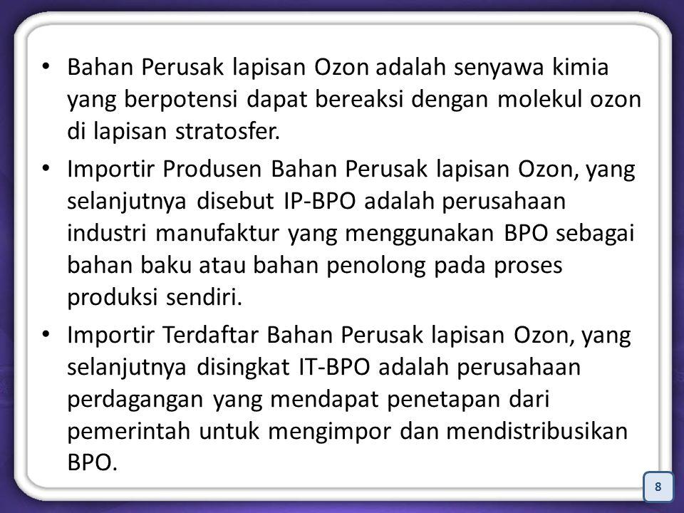 Bahan Perusak lapisan Ozon adalah senyawa kimia yang berpotensi dapat bereaksi dengan molekul ozon di lapisan stratosfer.