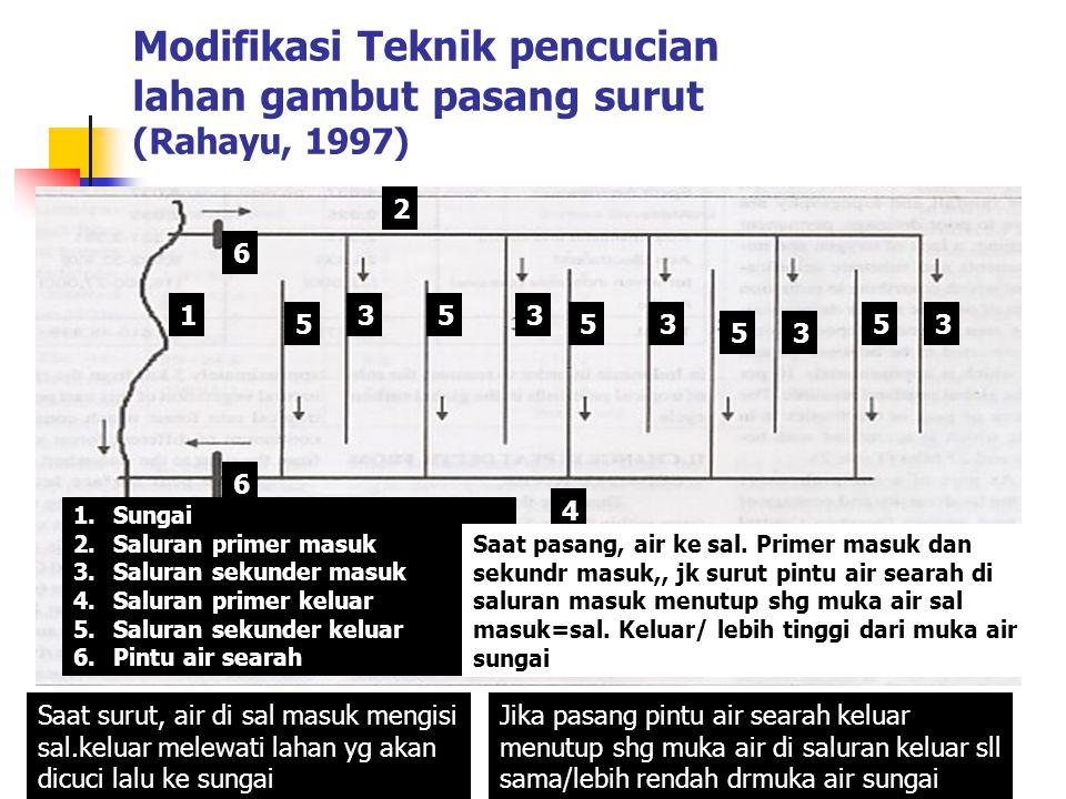 Modifikasi Teknik pencucian lahan gambut pasang surut (Rahayu, 1997)