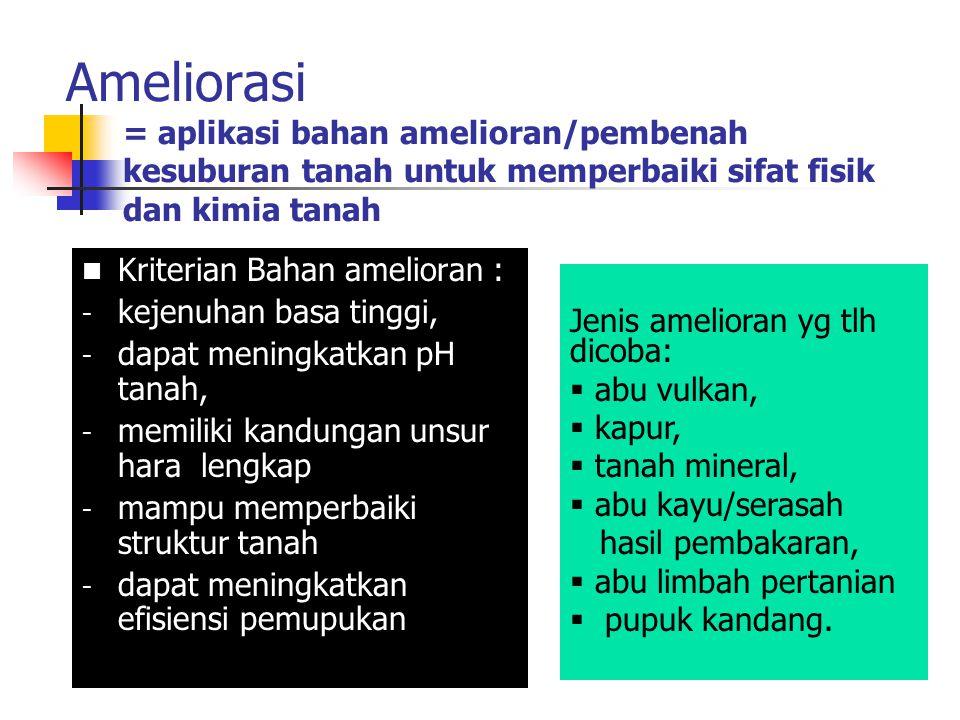 Ameliorasi = aplikasi bahan amelioran/pembenah kesuburan tanah untuk memperbaiki sifat fisik dan kimia tanah