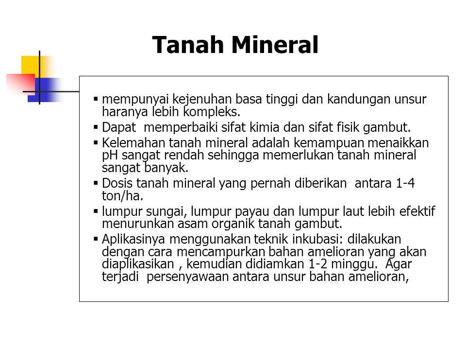 Tanah Mineral mempunyai kejenuhan basa tinggi dan kandungan unsur haranya lebih kompleks. Dapat memperbaiki sifat kimia dan sifat fisik gambut.