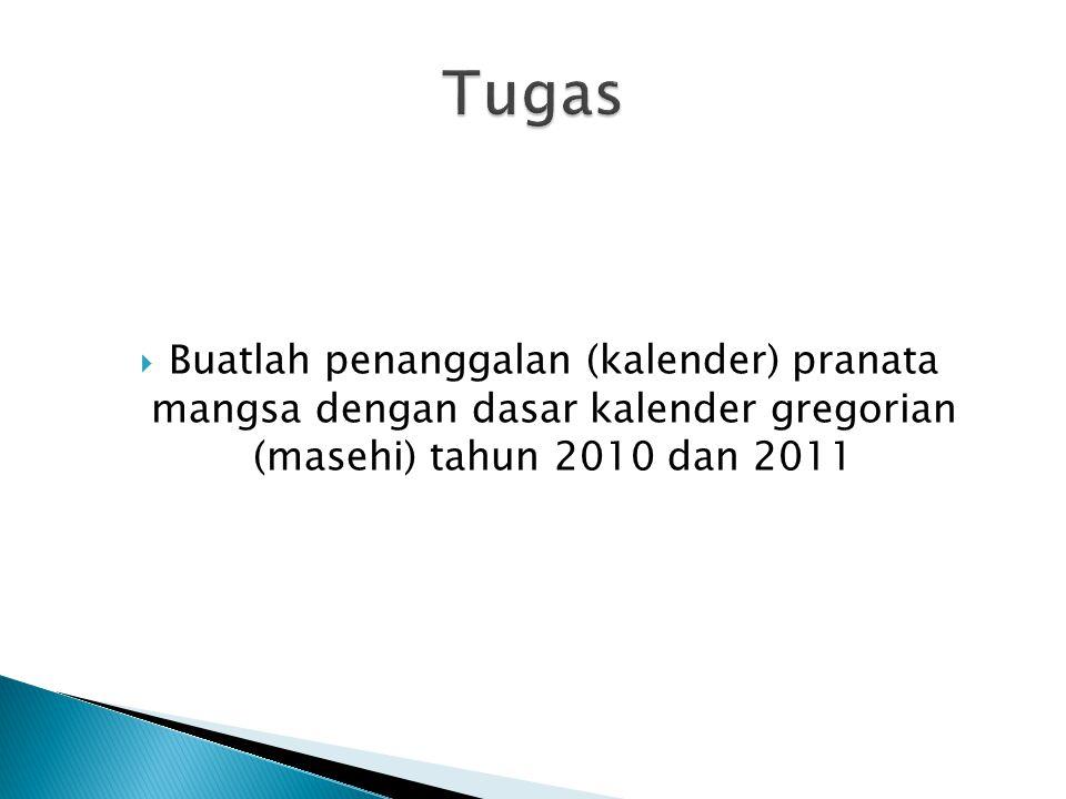 Tugas Buatlah penanggalan (kalender) pranata mangsa dengan dasar kalender gregorian (masehi) tahun 2010 dan 2011.