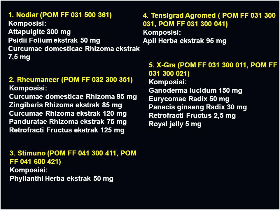 1. Nodiar (POM FF 031 500 361) Komposisi: Attapulgite 300 mg Psidii Folium ekstrak 50 mg Curcumae domesticae Rhizoma ekstrak 7,5 mg