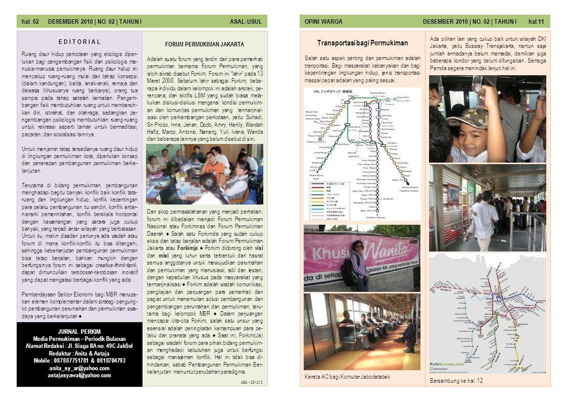 FORUM PERMUKIMAN JAKARTA Transportasi bagi Permukiman