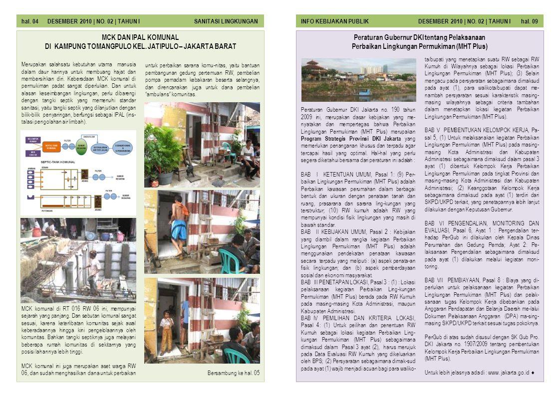 hal. 04 DESEMBER 2010 | NO. 02 | TAHUN I SANITASI LINGKUNGAN