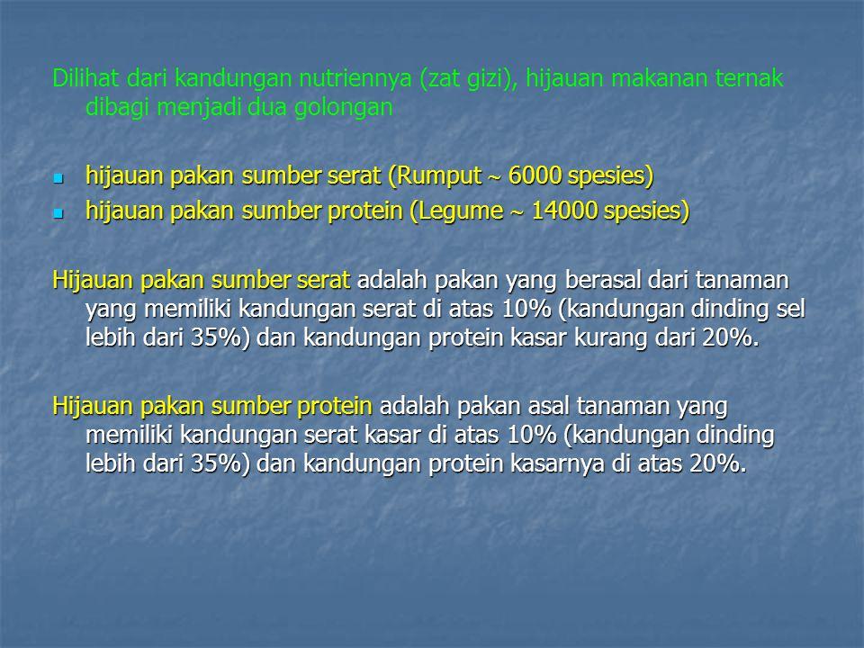 Dilihat dari kandungan nutriennya (zat gizi), hijauan makanan ternak dibagi menjadi dua golongan