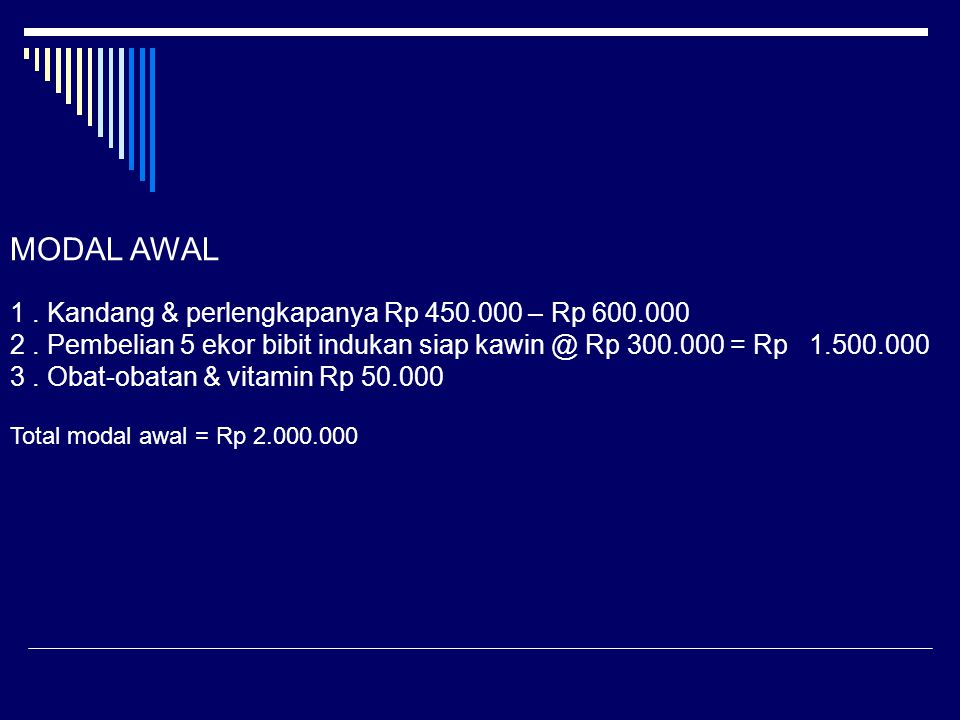 MODAL AWAL 1 . Kandang & perlengkapanya Rp 450.000 – Rp 600.000. 2 . Pembelian 5 ekor bibit indukan siap kawin @ Rp 300.000 = Rp 1.500.000.