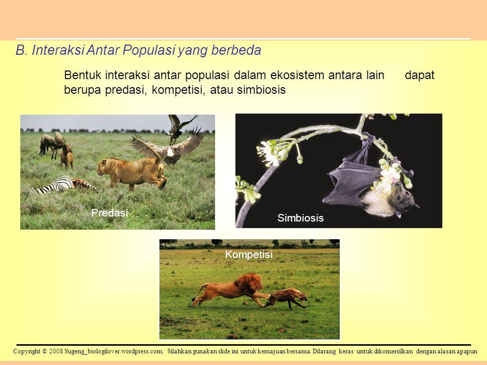B. Interaksi Antar Populasi yang berbeda