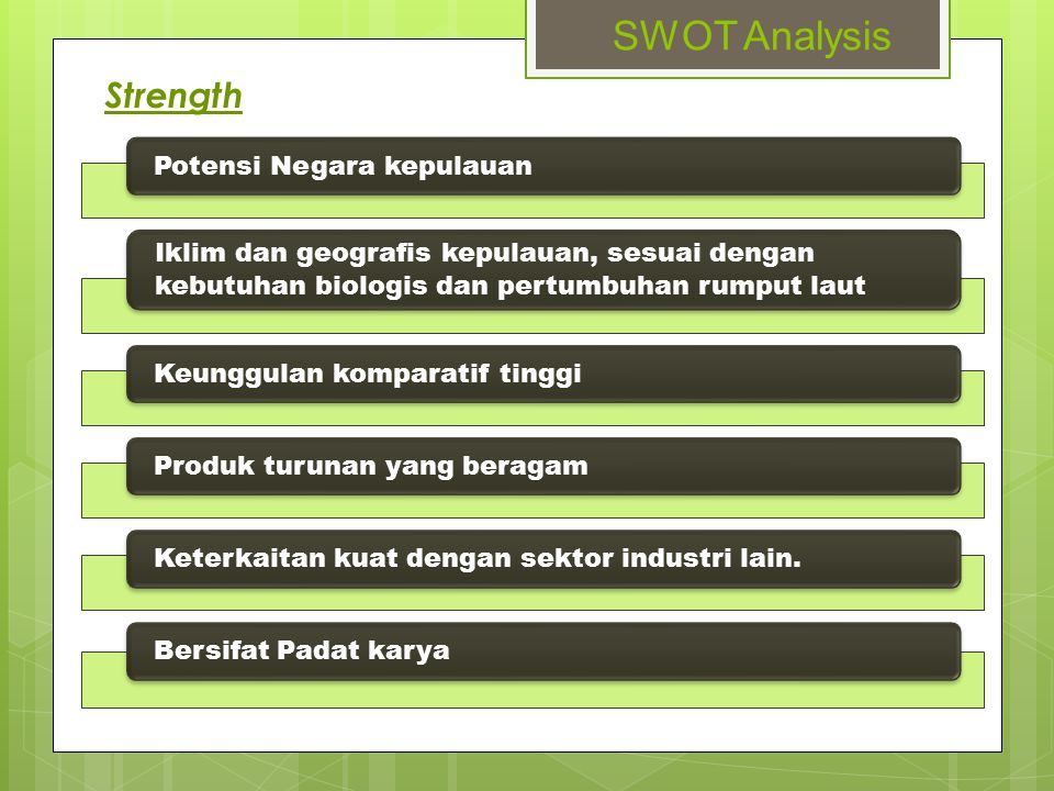 SWOT Analysis Strength Potensi Negara kepulauan