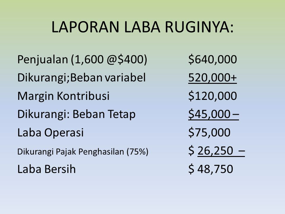 LAPORAN LABA RUGINYA: Penjualan (1,600 @$400) $640,000