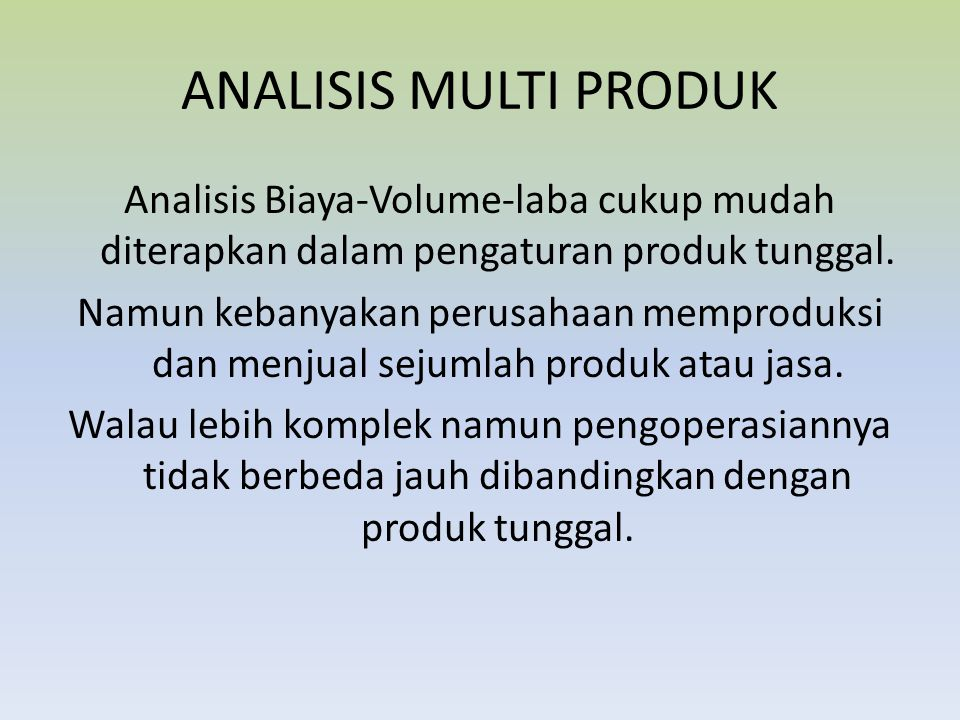 ANALISIS MULTI PRODUK